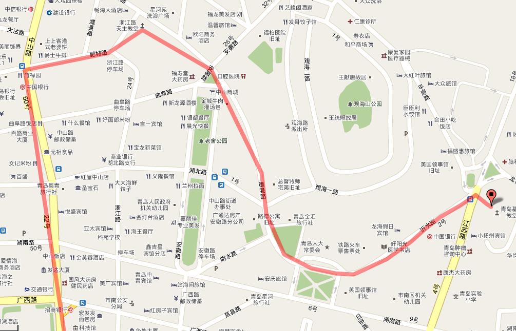 青岛 延安三路 到 栈桥海滨 以及 八大关风景区 坐车还是步行?