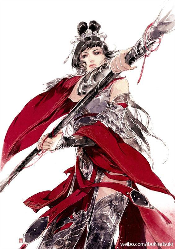 古风戎装女子手绘,最好是有战马还有军队为背景的,可以霸气一点也可以