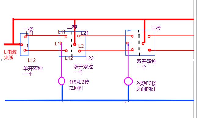 三层楼,楼道三个灯,用三控开关,咋接线