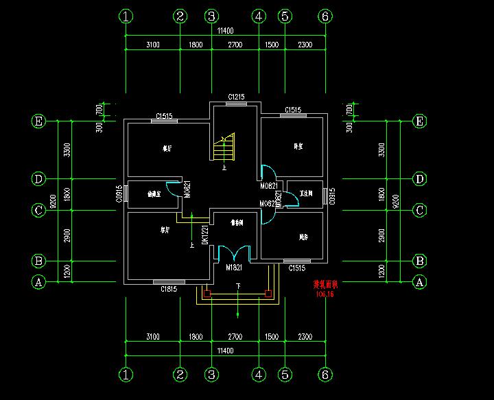 求100-110平方米农村二屋房屋设计图,有实物图/剖视图