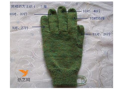 毛线五指手套编织方法