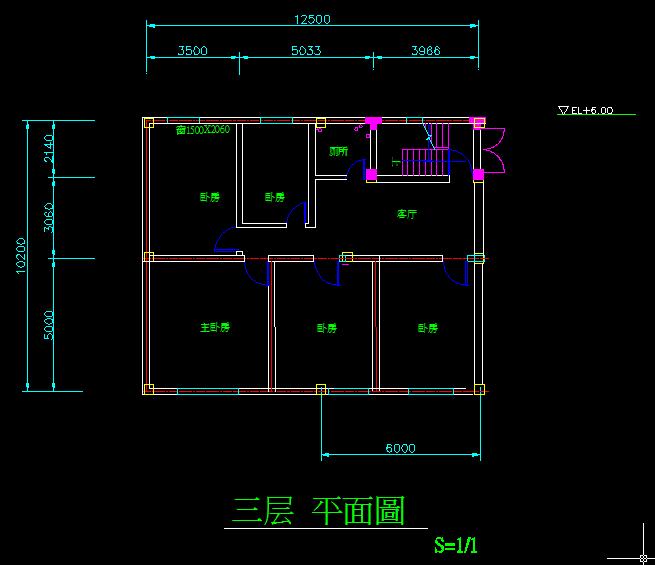 农村房屋设计图,长10.2米宽12.5米,2楼3楼要求5室1厅1