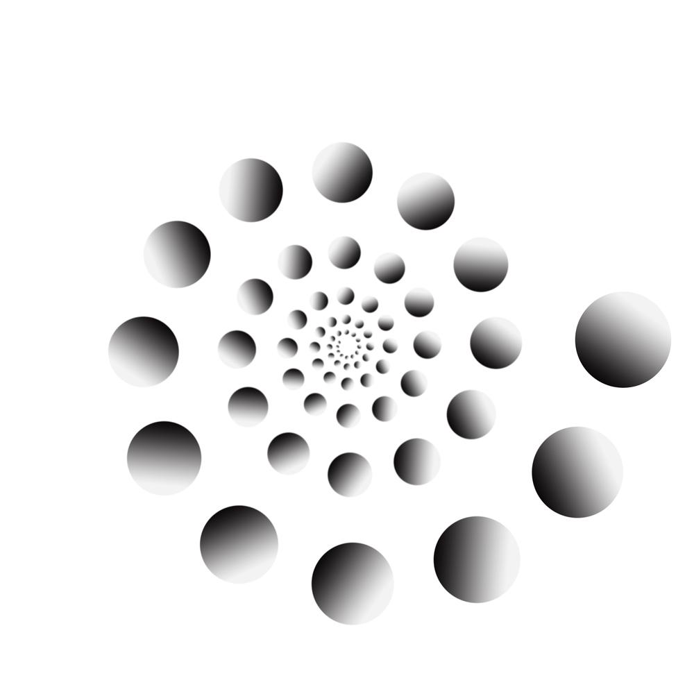 ps怎么做出如图的小球渐变加不断旋转的效果?谢谢!