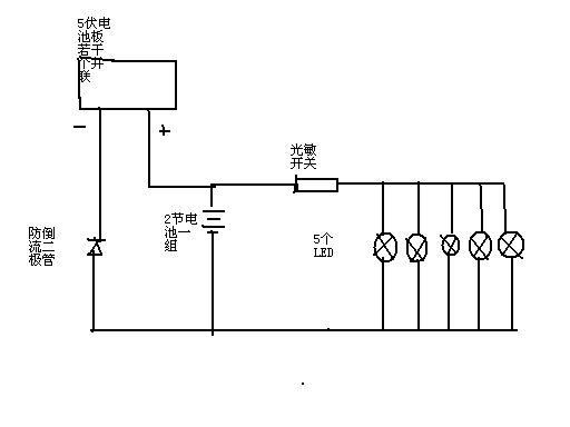 问一下太阳能电池板-蓄电池-led灯-光敏电阻之间连接的电路图