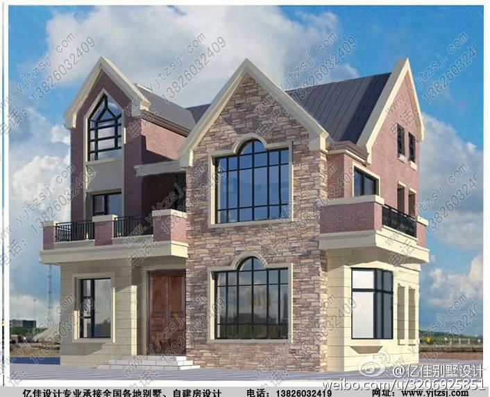 农村自家想盖房,但是不太喜欢四四方方的造型,想盖两层的小别墅,简单图片