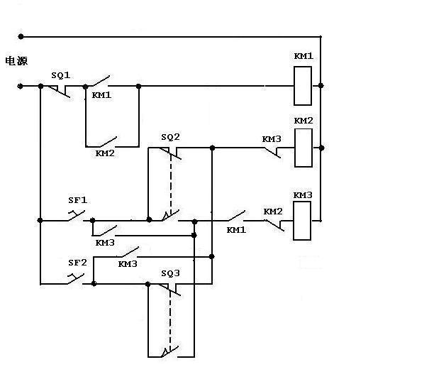 钢筋弯曲机电路图2个脚踏开关,90度,135度,3个继电器