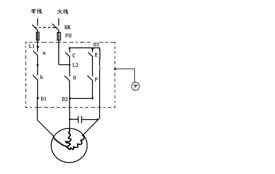 求单相电机用两个中间继电器控制正反转原理图以及接线图