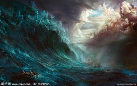 求一张找一张有人有海的绚丽玄幻小说封面素材,要霸气