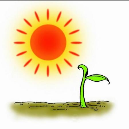 拼音r的发音 上面是红红的太阳,地上小草发芽了.
