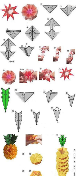 手工菠萝折纸方法图解