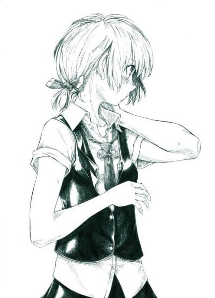 动漫黑白手绘人物图