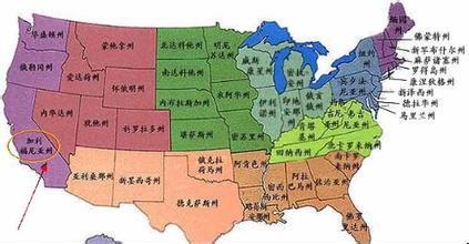 美国加州在地图的哪里