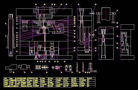 求模具的结构名称示意图 标示图