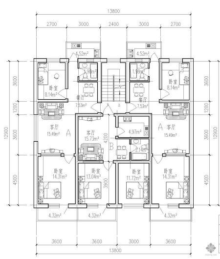 求一梯三户户型图(2室2厅,3室2厅,4室2厅)