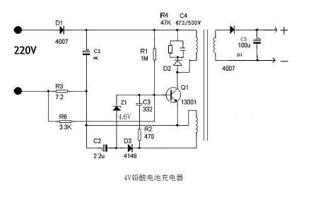 求一个4v铅酸电池充电器电路图,不要容阻的,最好是脉冲的,有去硫的更