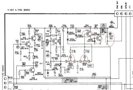 重点检查一下电路图中画红圈的电子元件