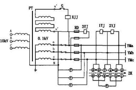 三相五柱式电压互感器的两组低压绕组各有什么用途?图片