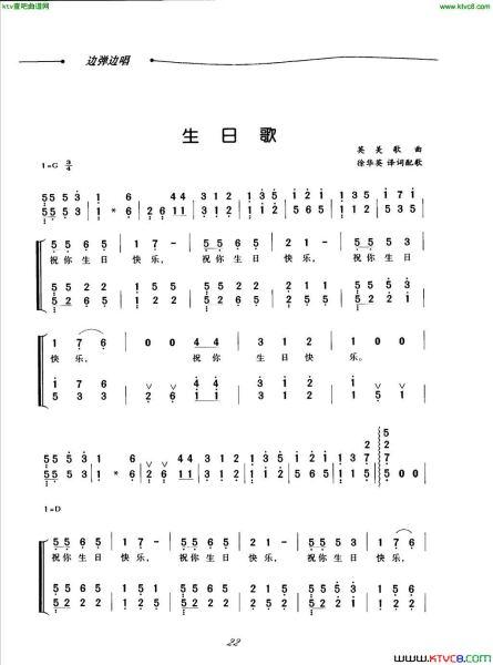 数字钢琴谱《生日快乐》图片