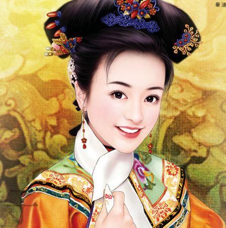清朝古装女子描写和手绘清装男子图片