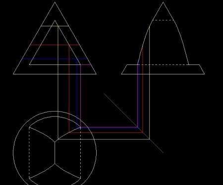 机械制图 圆锥上打一三棱柱形孔,完成俯视图并求左视图图片