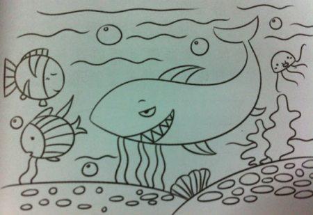 """以""""鲸鱼""""为题目的《海底世界》简笔画.急急急!"""