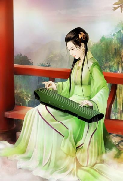 有没有手绘古装美女弹琴的图片