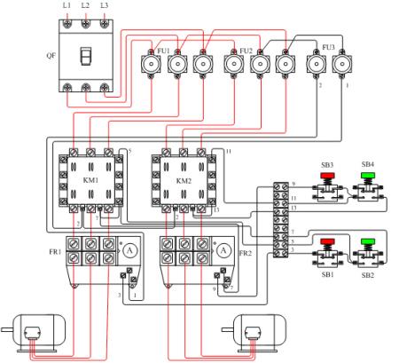三相异步电动机顺序启动原理图,接线图,元件布置图 要两台电动机的图片