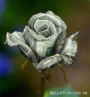 怎样用钱折玫瑰花图解
