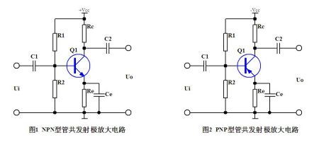 npn和pnp型三极管共发射极的电路图区别是?