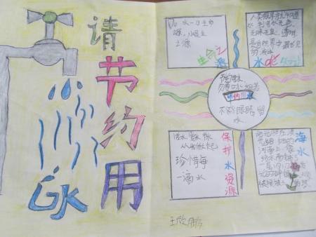 三年级节约用水简单的手抄报字很大图片