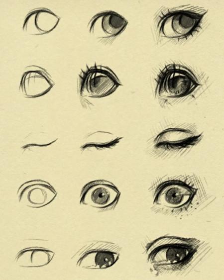 手绘的二次元眼睛应该怎么画?(两只眼)