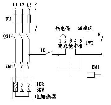 cjx2-5011交流接触器(380v)接xmtd-2001温控仪(380v)