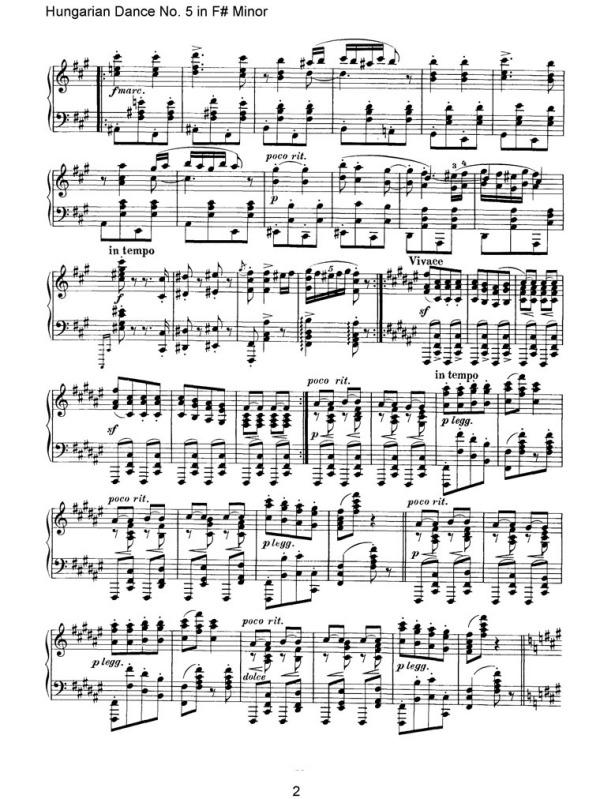 钢琴曲英国号五线谱-匈牙利舞曲 钢琴谱 匈牙利