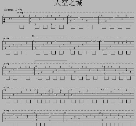 求动漫天空之城的吉他谱,要清晰点的