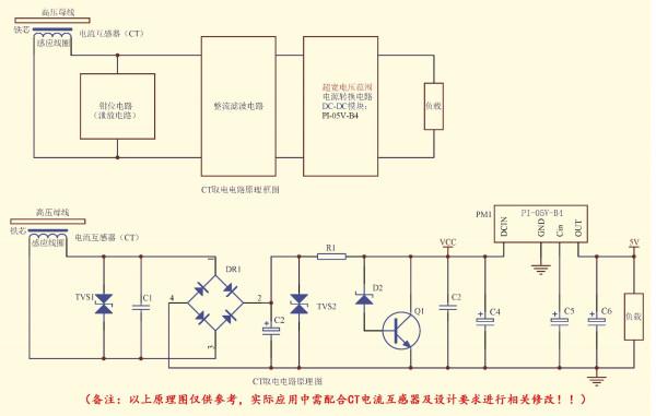 CT取电(感应取电)电源,即利用安装在电力线路上的CT通过电磁感应原理获得电源的一种装置,它由取电CT(取能互感器)和超宽电压输入DC-DC电源转换模块(将CT取得的电能量转化为所需要的直流电压,如PI-05V-B4,PE-12V-B4)两部分组成。这种CT取电(感应取电)电源具有非常高的可靠性,无论高压母线电流如何变化,都可输出稳定的5V直流电压为后级负载稳定供电,将进一步提高在线监测水平,进一步提高智能电网发展的可靠性。 向左转向右转