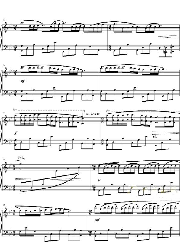 梦中的婚礼 钢琴曲谱 爱谱网