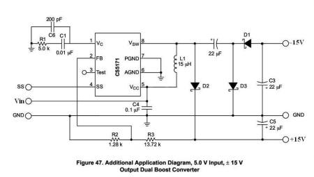 求一个mc34063的升压电路,3.7v输入,转双电源正负15v
