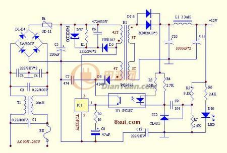 求12v10a的直流电电源器电路图!