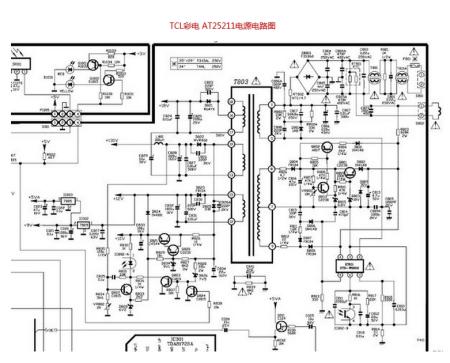 tcl彩电at25211水平亮线故障维修求助  tcl彩电水平亮线,说明场电路