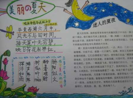 2015年四年级下册暑假语文实践活动手抄报图片