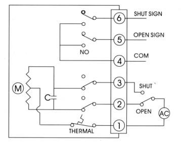 开关型带无源触点型反馈电动蝶阀接线图,1,2,3是控制部分接线,4,5,6为图片
