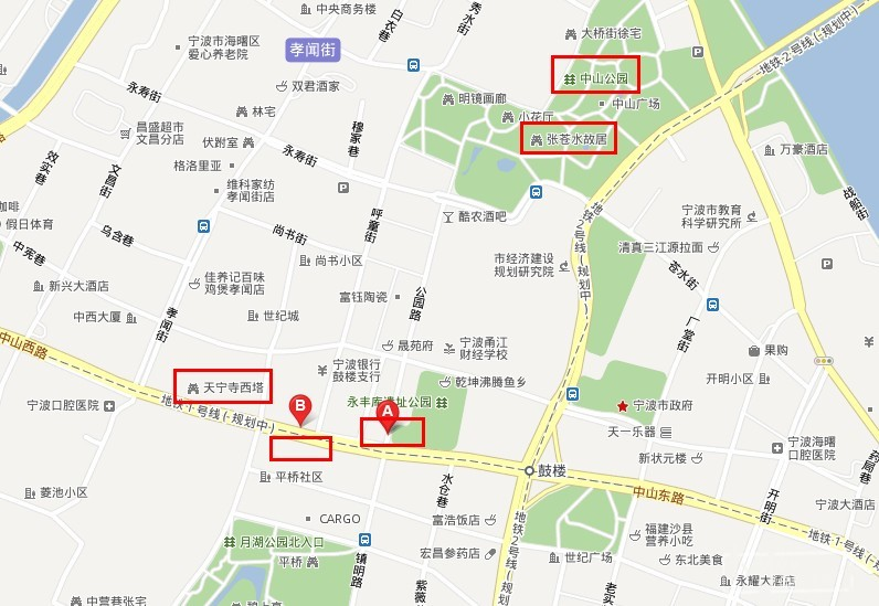 宁波 鼓楼  手绘 地图