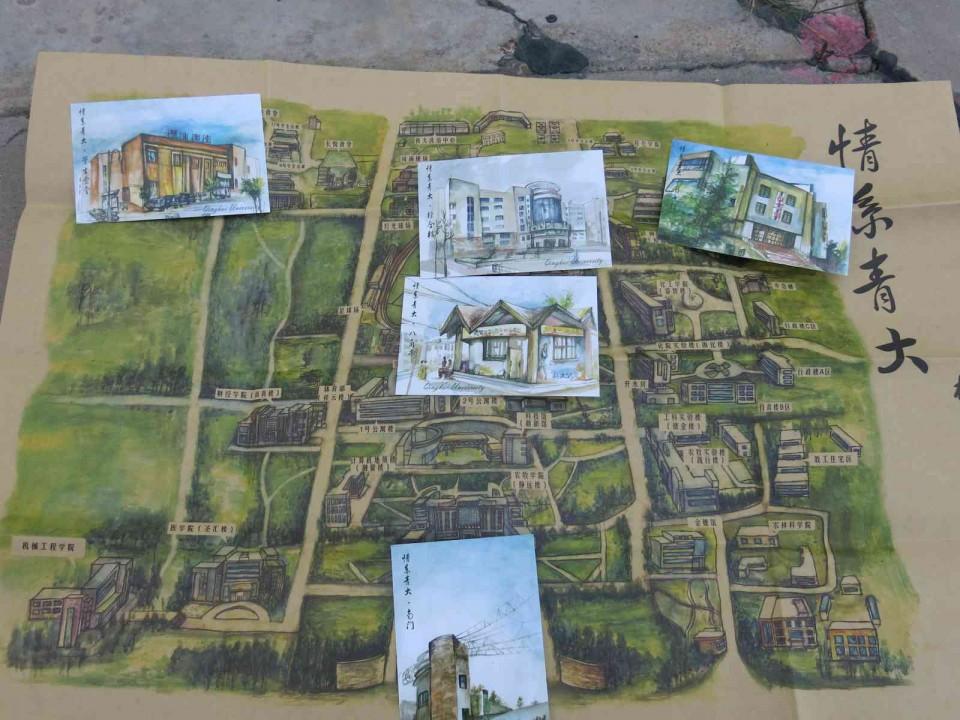 学生手绘 青海大学 地图