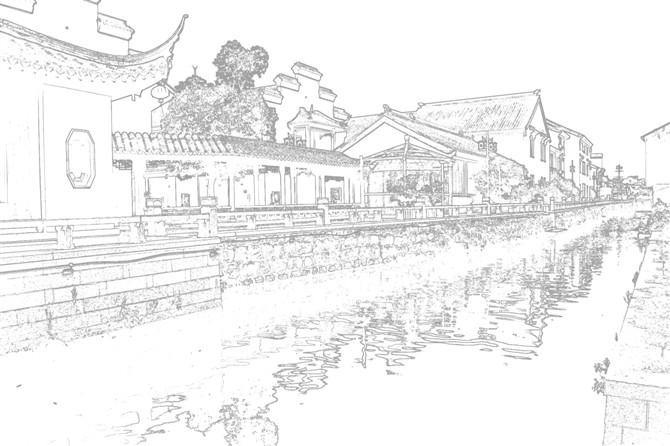 简单手绘图片古镇