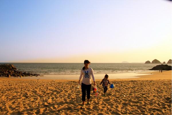 哈仙岛金沙滩日落图片