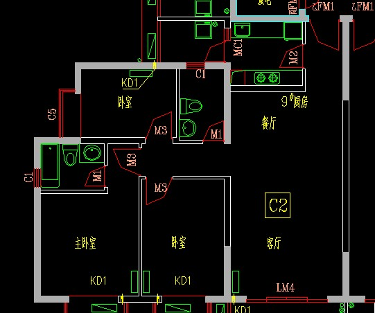 请问我要一张120平方米的图纸10米x12米,三室一厅一卫图片