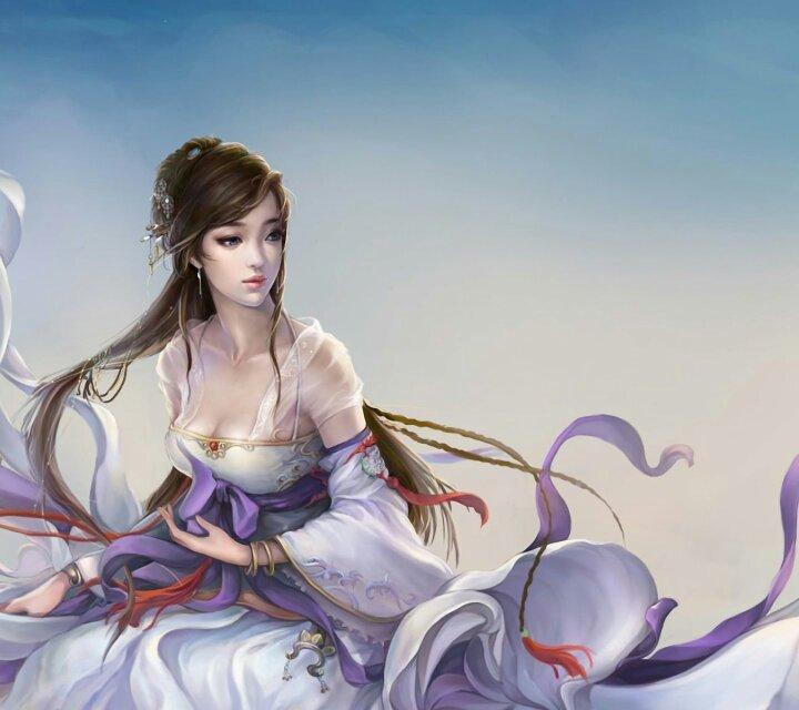 求古装手绘女子正面手绘图