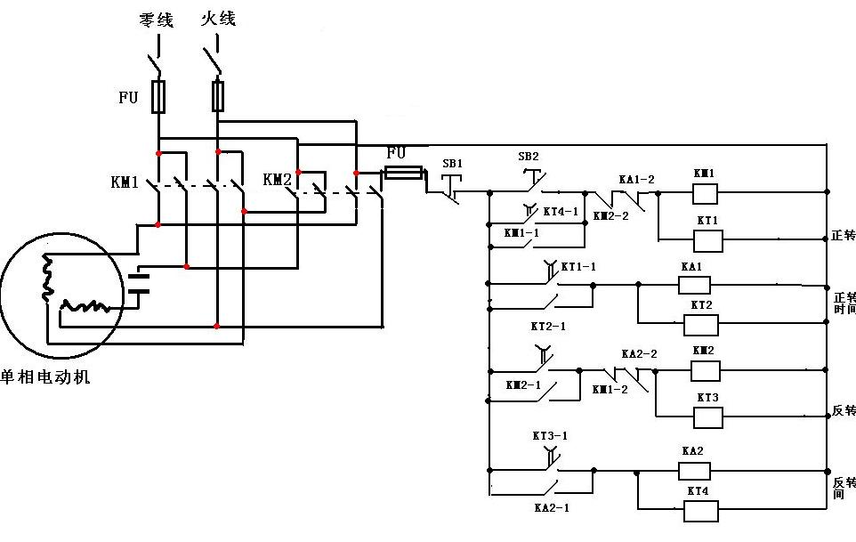 单相电动机有的要分主,付绕组,所以电动机正反转有两种接线方式:分主