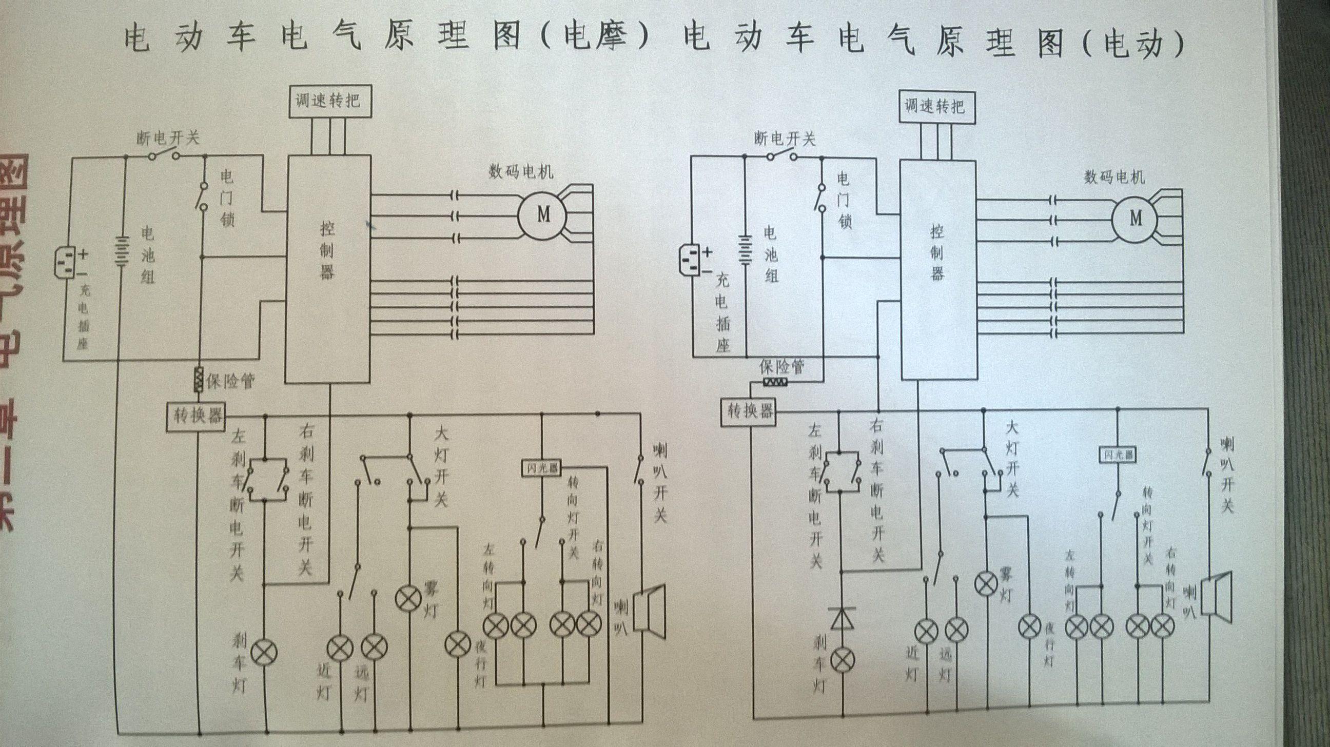 爱玛电动车整车部件线路图