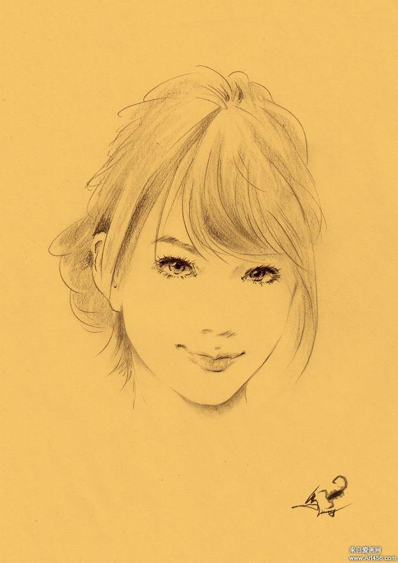 求一张铅笔素描画 女生 没刘海 扎马尾 大眼睛 双眼皮